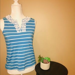 Talbot's •Women's Blue and White Beaded Sleeveless